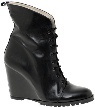 Minimarket Leather Laced Wedge Boots - Asos