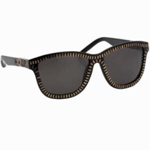 Alexander Wang Zipper Frame Sunglasses in Black &amp; Brass - Novelty Sunglasses