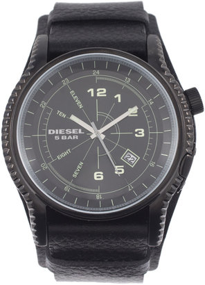 Diesel Black Round Dial Leather Strap Watch - Black Dial Watches for Men