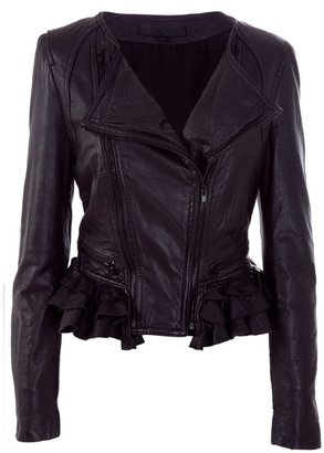 SWAGGA&amp;SOUL - Washed leather frill trim jacket - Leather Jacket