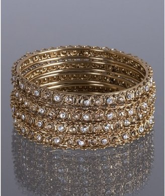 Chamak by Priya Kakkar set of 4- gold crystal thin bangles - Bracelets