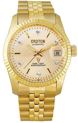 Croton 23k gold-plated stainless steel diamond accent automatic watch - Incredibly Gold Watches for Men