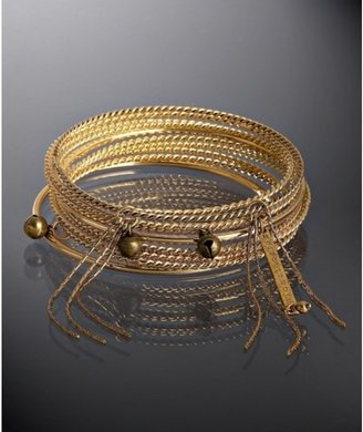 Rachel Leigh set of 10 - gold &#39;Rocker Beau&#39; mixed bangles - Jewelry