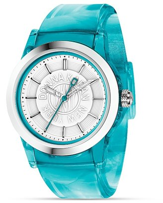 DKNY Turquoise Translucent Watch with White Dial, 37.5 mm - Funky Colored Watches