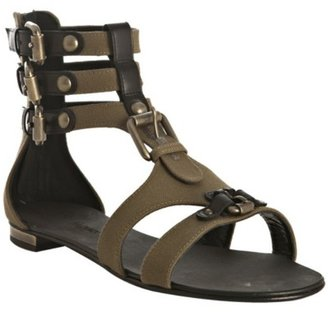 Balmain olive canvas buckle detail flat gladiators - Summer&#39;s Hottest Gladiator Sandals