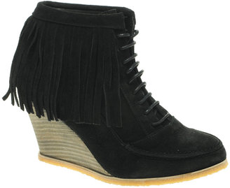 KG By Kurt Geiger Valtina Wedge Fringed and Studded Lace Up Ankle Boot - Funky Fringe Boots