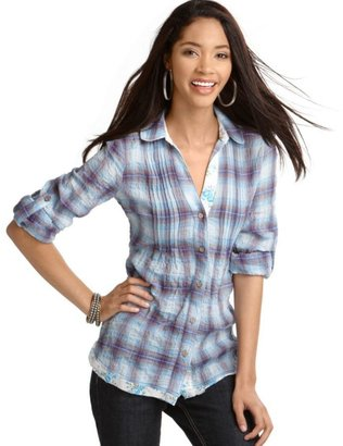 Fang Top, Plaid Button Down Shirt - Plaid Button-Down Shirts 