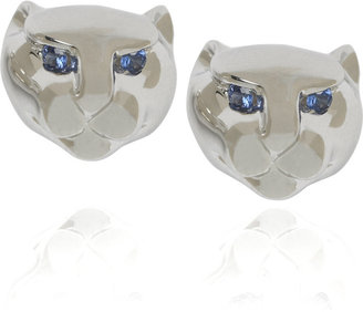 Anita Ko White gold panther stud earrings - Pouncing Panther Jewels 