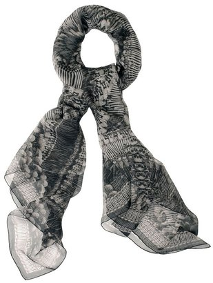 Grey Catacomb Skull And Bone Scarf - Alexander McQueen Scarves