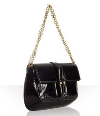 Yves Saint Laurent black patent &#39;Emma&#39; medium flap bag - Shoulder Bags