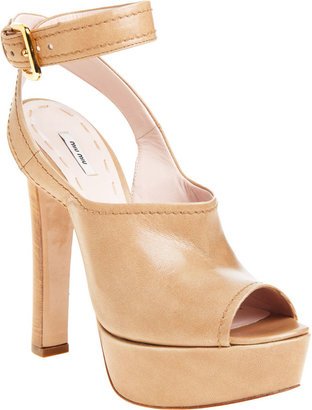 Miu Miu Peep Toe Platform Sandal - Brown - Heels