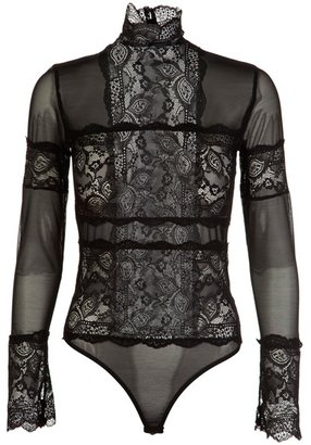 AREFEVA - Mesh and embroiderd bodysuit - Long Sleeve Bodysuits