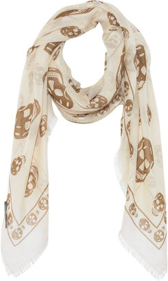 Alexander McQueen Cashmere-blend skull-print scarf - Accessories