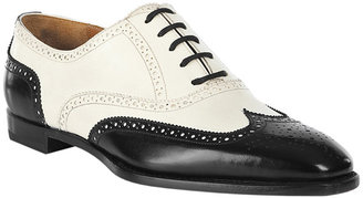 Ralph Lauren Collection Cream/Black Brinkley Flats - Boyish Brogues