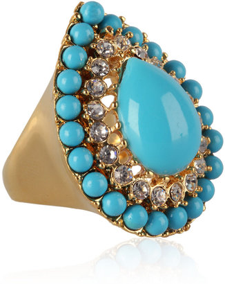 Kenneth Jay Lane Gold &amp; Turquoise Teardrop Ring - Decorative Rings