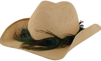 Straw Hat  Peacock Feather Belt - Hats