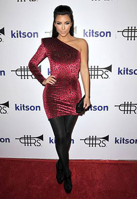 Brian Lichtenberg One Shoulder Padded Dress in Red Leopard Velvet - Kim Kardashian Style Dresses