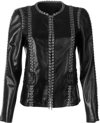 Roberto Cavalli Black Leather Jacket Chain Detailing - Clothes