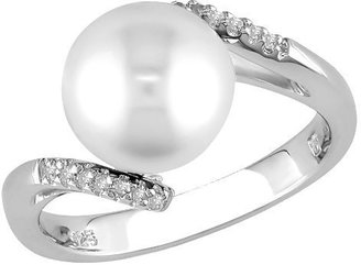 Women Silver Fw Button Pearl Ring - White - Decorative Rings