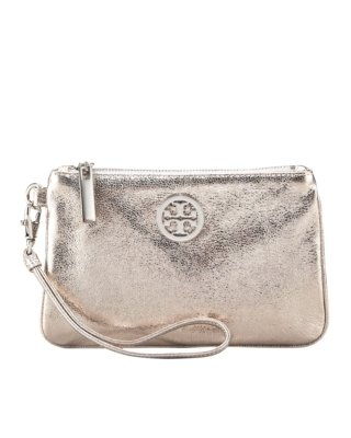 Tory Burch Metallic Leather Wristlet - Gold Clutch Bags