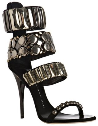 Giuseppe Zanotti black suede jewel detail strappy zip sandals - Dress Like Rihanna