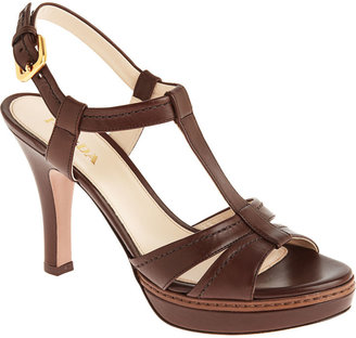 PRADA T-Strap Platform - Dark Brown - Heels