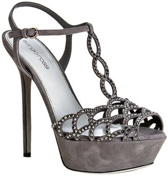 Sergio Rossi grey suede and crystal platform sandals - Heels