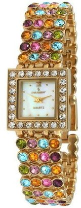 Peugeot Women's 835G Square Gold-Tone Multi Color Crystal Bracelet Watch - Wild Watches