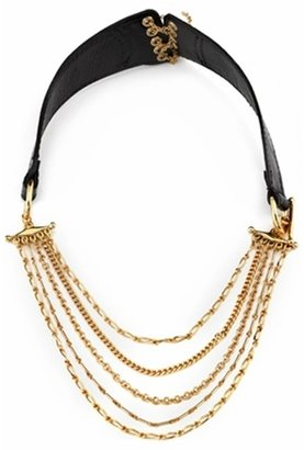 House of Harlow 1960 Gold and Black Leather Short Corset Necklace - Statement Necklace