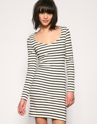 ASOS Stripe Sweetheart Neck Jersey Dress - Lindsay Lohan Jailbird Chic