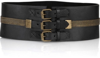 McQ Leather chain-detail belt - Oversized Belt