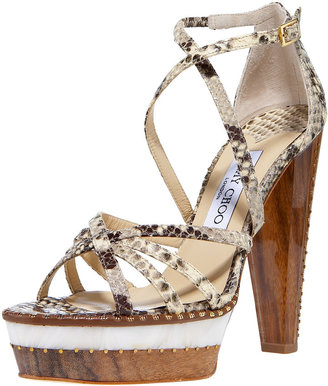 Jimmy Choo Snake-Print Platform Sandal - Heels