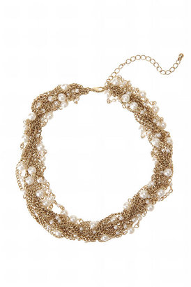 Twisted Pearl Necklace - Bronze Statement Necklace