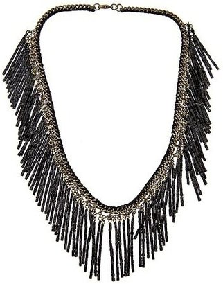 Lee Angel Tonal Single Layer Seedbead Necklace, Black - Lee Angel