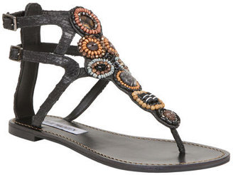 Sanzo Black Leather - Ethnic Beaded Sandals