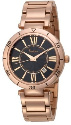 Freelook Women&#39;s HA1141RG-1 Rose Gold Tone Roman Numeral Black Dial Watch - Rose Gold Watches