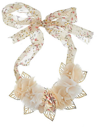 Chiffon Flower Bib Necklace - Statement Necklace