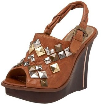 Sam Edelman Women&#39;s Juno Peep Toe Studded Wedge - Heels