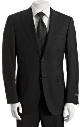 Canali black striped wool 2-button suit with flat front cuffed trousers - Dress Like Don Draper
