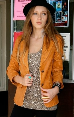 Elizabeth And James Shrunken Leather Blazer - Outerwear