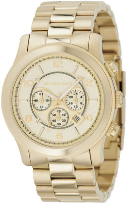 MICHAEL KORS Gold Oversized Runway Watch - Oversized Watches for Women