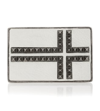 Pyramid Studded Belt Buckle with Leather Inlay - Oversized Belt