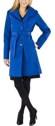 Mossimo Black: Satin Wrap Trench Jacket - Blue Moire - Mossimo