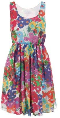 AUSTIQUE - Multi-coloured floral print dress with short sleeves - Day Dresses
