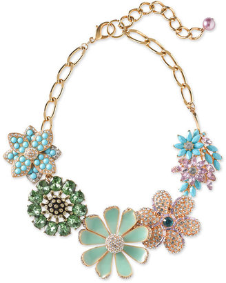 Sequin Crystal &amp; Enamel Floral Necklace - Statement Necklace