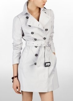 Double Breasted Princess Sleeve Trench Coat - Clothes