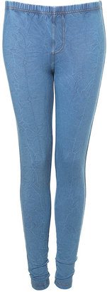 Bleach Washed Denim Leggings - Denim Leggings