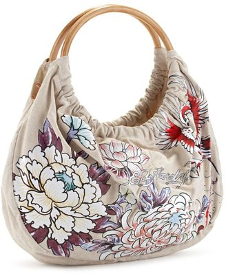 "Ed hardy ""deborah"" ring tote - Flower Print Handbags"