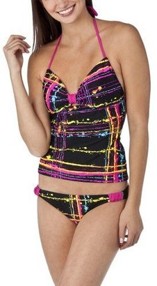 Xhilaration Juniors Splatter 2 Piece Tankini Swimsuit - Black/Pink - Xhilaration