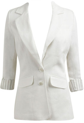 Linen Roll Sleeve Girfriend Blazer - What to Wear to Tea with Taraji P. Henson